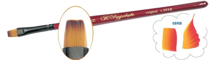 Roubloff Кисть 08RB синтетика плоская № 18Ж08-18,0RBКисть Контурная из синтетики на короткой красной фигурной ручке имеет укороченную выставку волоса, что придает кисти большую упругость, облегчает создание плавного перехода от одного цвета к другому и хорошо выделяет контур.