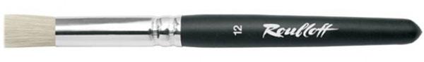 Roubloff Кисть 1685 щетина № 18 короткая ручкаЖЩ8-18,05БКисть трафаретная, очень жесткая, из волоса щетины на короткой черной матовой ручке с алюминиевой обоймой.