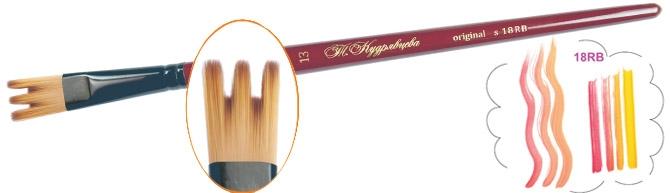 Roubloff Кисть 18RB синтетика плоская № 15Ж18-15,0RBКисть Контурная из синтетики на короткой красной фигурной ручке имеет укороченную выставку волоса, что придает кисти большую упругость, облегчает создание плавного перехода от одного цвета к другому и хорошо выделяет контур.