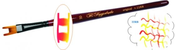 Roubloff Кисть 22RB синтетика № 13Ж22-13,0RBКисть «Двузубец». С ее помощью можно выполнить одновременно две параллельные линии. За счет большего расстояния между зубчиками дает более графичный эффект.