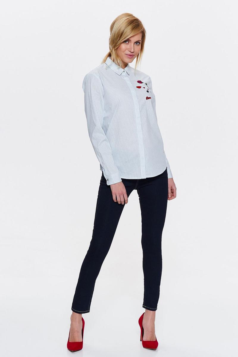 Рубашка женская Top Secret, цвет: белый. SKL2505BI. Размер 36 (44)SKL2505BIРубашка от Top Secret выполнена из натурального хлопка. Модель с длинными рукавами и отложным воротником застегивается на пуговицы, на груди декорированы вышивками.