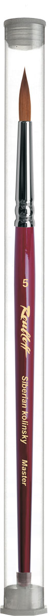 Roubloff Кисть 301T колонок круглая № 5ЖК1-05,0ТНКисть круглая, мягкая из волоса колонкав индивидуальной тубе на короткой глянцевой бордовой ручке с хромированной обоймой серебряного цвета.