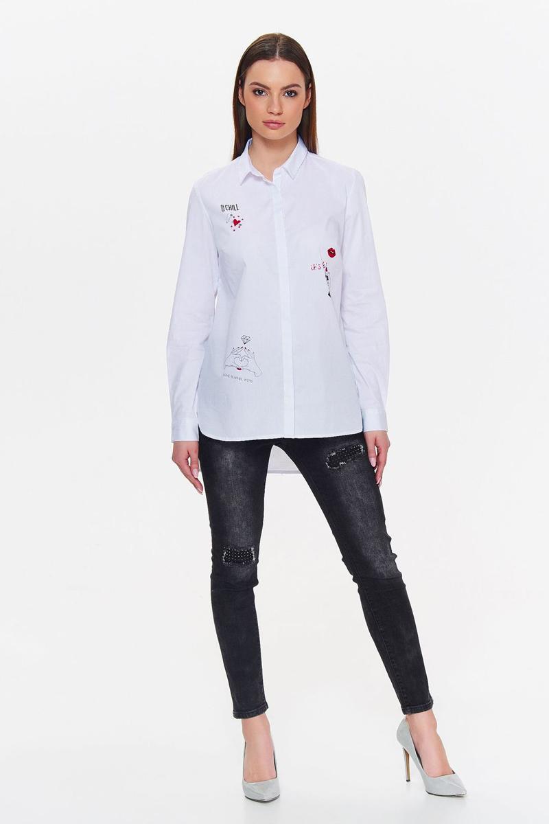 Рубашка женская Top Secret, цвет: белый. SKL2507BI. Размер 36 (44)SKL2507BIРубашка от Top Secret выполнена из эластичного хлопкового материала. Модель с длинными рукавами и отложным воротником застегивается на пуговицы и декорирована стильными принтами.