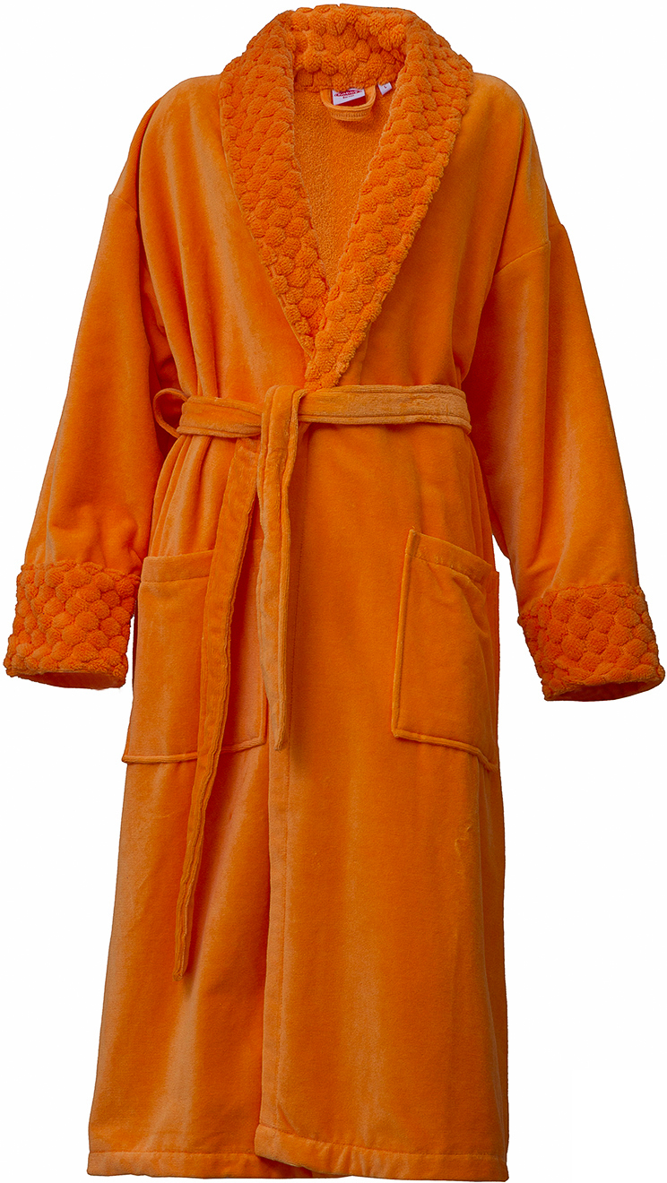 Халат махровый женский Hobby Home Collection Angora, цвет: оранжевый. 15010008. Размер L (48/50)15010008Махровый халат Hobby Home Collection Angora изготавливают из 100% высококачественного хлопка с применением высокотехнологических ткацких приемов, без применения химических размягчителей, что гарантирует экологическую чистоту. Натуральная ткань не вызывает раздражения и подходит даже для людей с чувствительной кожей, обладает хорошей впитываемостью влаги, прекрасно сохраняет тепло. Махровый халат «Angora» - двухстороннее изделие с махровой внутренней стороной и с внешней высококачественной велюровой, придающей особый шарм. Халат с воротником-шалькой и рукавами ? дополнен узким текстильным поясом. Данная модель – находка для тех, кто хочет приобрести домашний халат яркой расцветки. Яркие цвета сохраняются на протяжении длительного использования и не вымываются при частых стирках.Инструкция по уходу: стирка при температуре не выше 40°С, не отбеливать, химчистка запрещена.