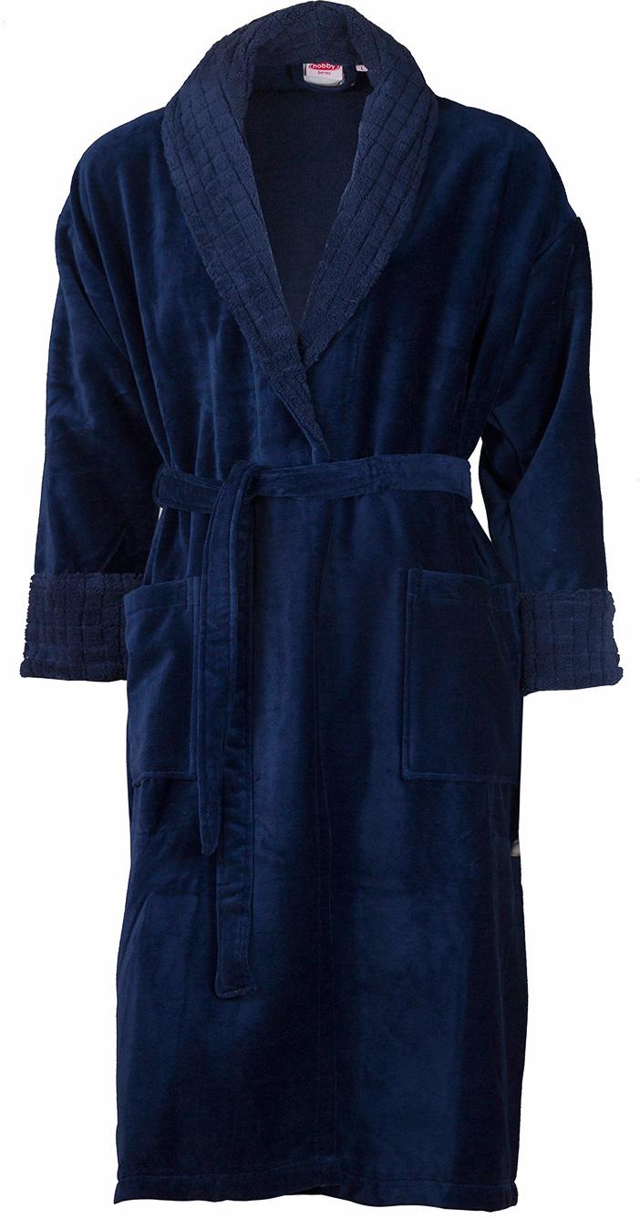 Халат мужской Hobby Home Collection Angora, цвет: темно-синий. 15010008. Размер XXL (54/56) купить шелковый халат мужской спб