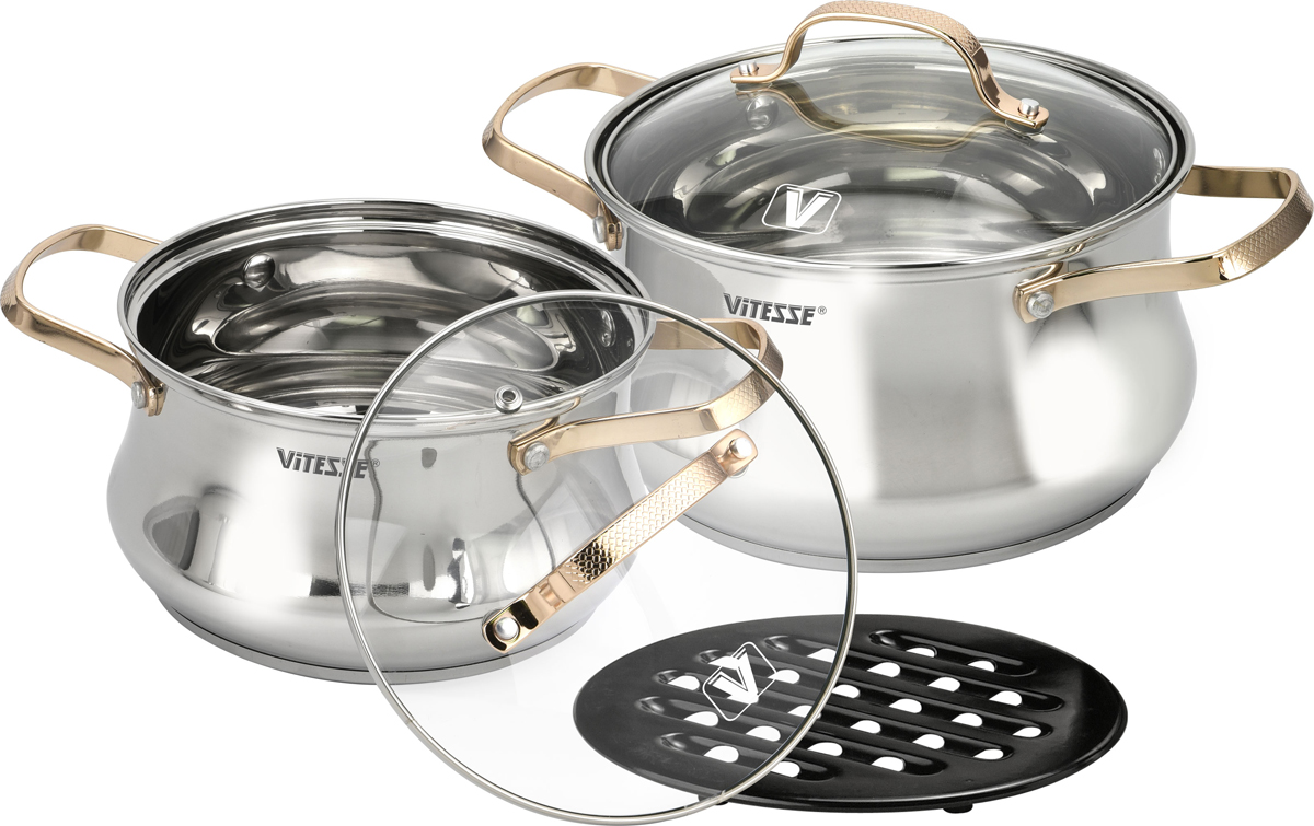 Набор посуды Vitesse, цвет: серебристый, золотой, 5 предметов. VS-2082 набор посуды из 7 предметов vitesse vs 9016