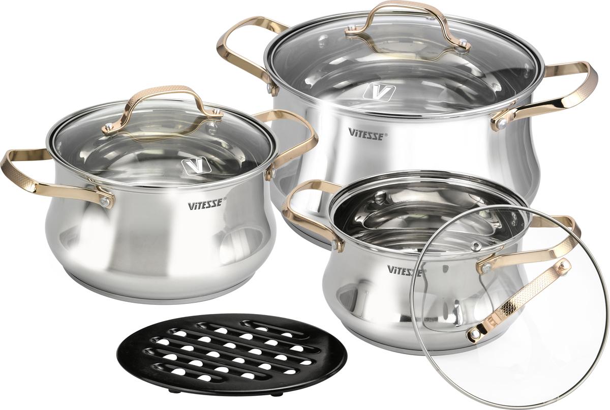 Набор посуды Vitesse, цвет: серебристый, золотой, 7 предметов. VS-2083 набор кухонный инстументов 7 предметов vitesse vs 2401