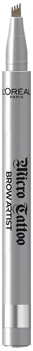 LOreal Paris Лайнер для бровей Brow Artist Micro Tattoo, оттенок 105, БрюнетA9400460Роскошные брови - секрет твоего яркого взгляда на весь день.