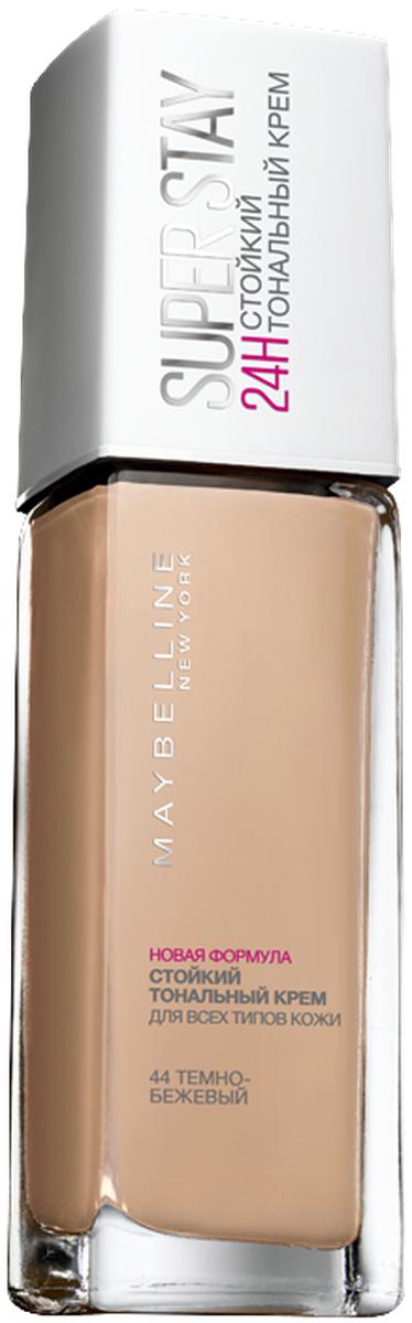 Maybelline New York Суперстойкий тональный крем для лица Super Stay 24H, оттенок 44, Темно-бежевый, 30 мл тональный крем enprani деликатное сияние 40 мл оттенок 21