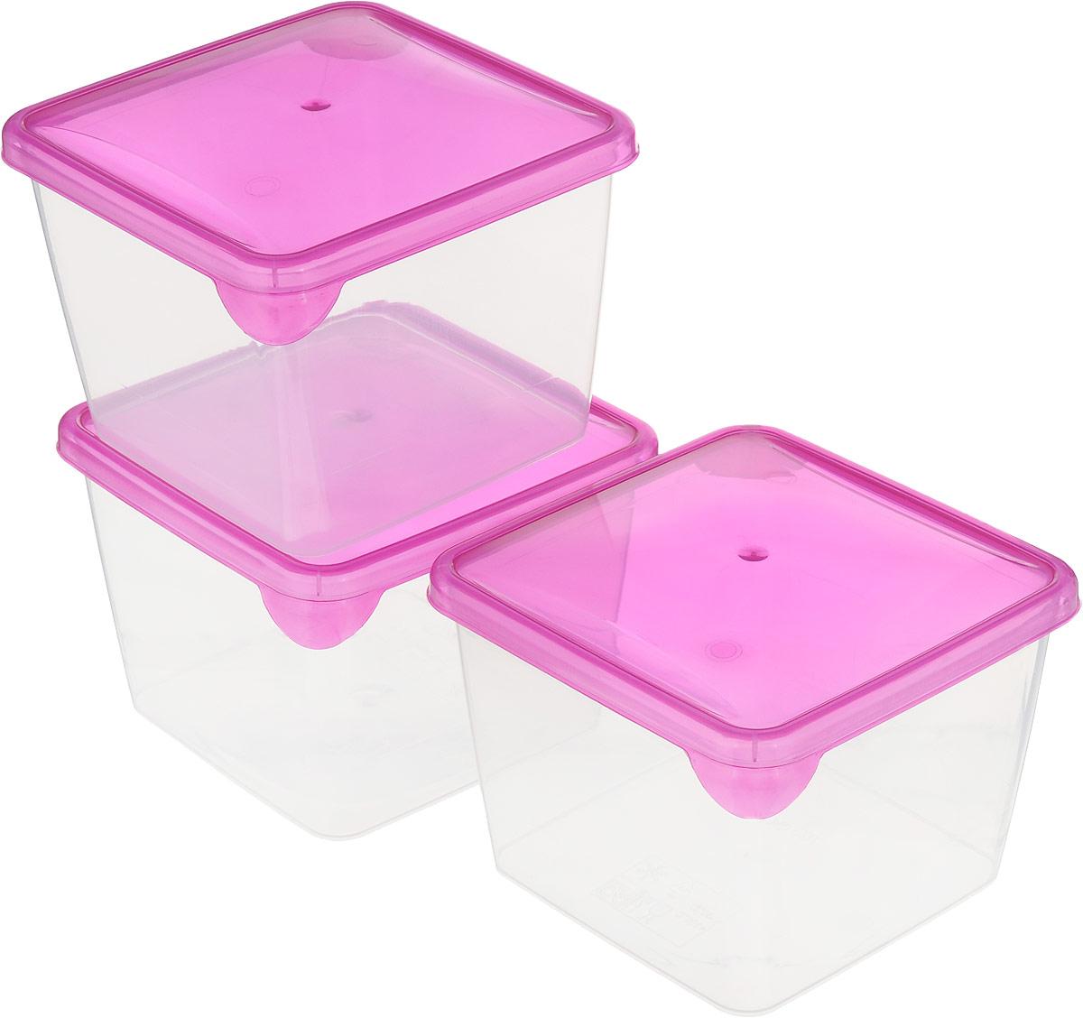 Комплект емкостей для продуктов Giaretti Браво, цвет: прозрачный, фуксия, 750 мл, 3 штGR1040_сиреневыйКомплект емкостей для продуктов Giaretti Браво состоит из 3 контейнеров. Емкости изготовлены из пищевого полипропилена и оснащены крышками, которые плотно закрываются, дольше сохраняя продукты свежими. Боковые стенки прозрачные, что позволяет видеть содержимое.Емкости идеально подходят для хранения пищи, фруктов, ягод, овощей.Такой комплект пригодится в любом хозяйстве. Легкие емкости одинаково удобно взять с собой или хранить продукты дома, замораживать ягоды и овощи небольшими порциями. Тонкий, но вместе с тем прочный пластик обеспечивает надежность изделий.