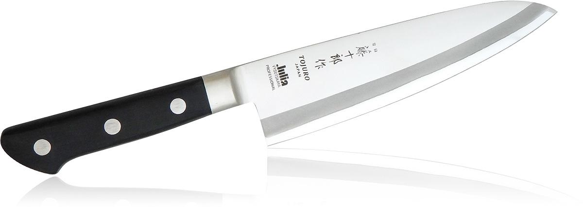 Нож Шеф поварской Fuji Cutlery Tojyuro. Длина лезвия, изготовленного из стали Мо-V составляет 180 мм, при этом имеет 3 слоя и заточку #6000. Рукоять изготовлена из полипропилена и крепится к лезвию 3-мя заклепками из нержавеющей стали.