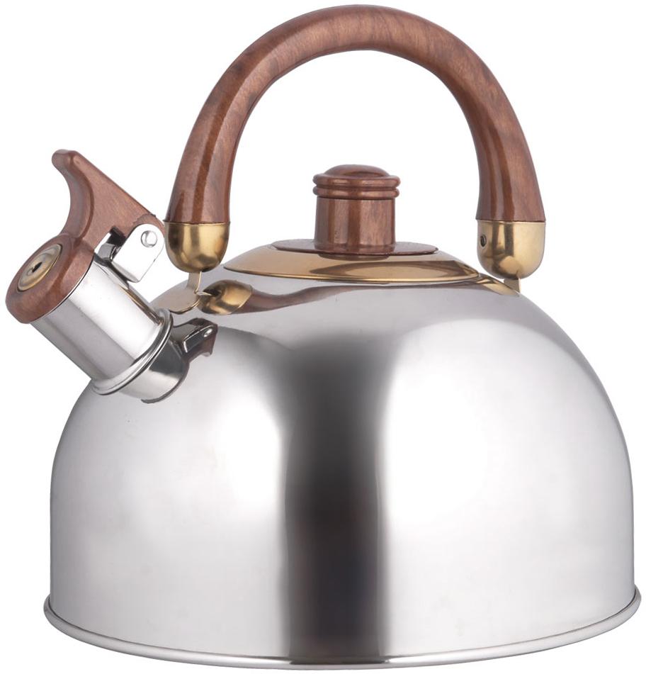 """Чайник """"Rainstahl"""" со свистком выполнен из нержавеющей стали. Двигающаяся бакелитовая ручка. Свисток работает при плотно закрытой крышке.  Подходит для всех видов плит. Объем: 2,5 л."""