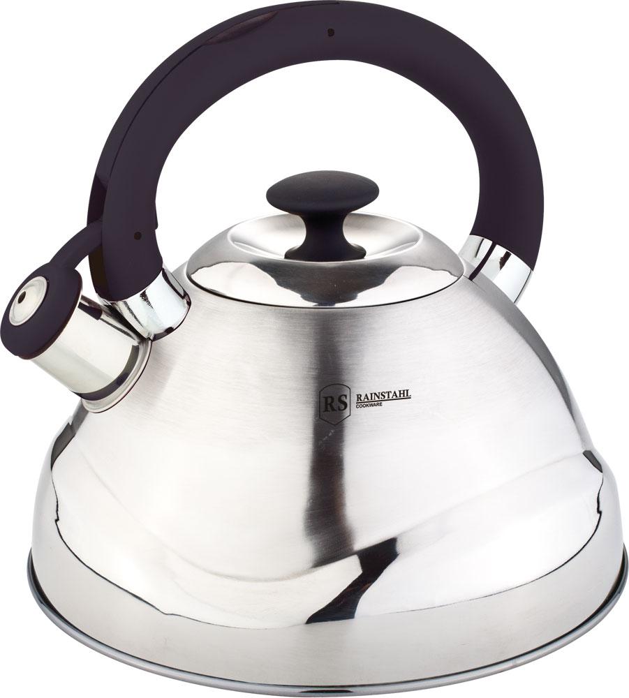 Чайник Rainstahl, со свистком, цвет: серебристый, 3 л7643-30RS\WKЧайник со свистком — проверенный временем верный помощник, который просто незаменим на любой кухне. Если вы любите ежедневные чаепития, то без хорошего чайника для кипячения воды вам не обойтись. Чайник Rainstahl со свистком ыполнен из нержавеющей стали. Наличие куркового механизма. Пластиковая с силиконовым покрытием ручка. Подходит для всех видов плит. Свисток работает при плотно закрытой крышке.