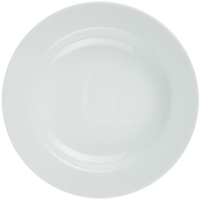 Тарелка глубокая Nuova Cer, диаметр 23,5 смРП-0925ROYAL новый уникальный продукт на рынке фарфора производится из материала, в состав которого входит алюминиум (глинозем) в виде порошка, что придаёт фарфору уникальные свойства: белоснежный цвет, как на поверхности, так и на изломе, более тонкие и изящные формы, так как добавление металла делает фарфоровую массу более пластичной, устойчивость к сколам и царапинам. Возможный перепад температур при эксплуатации до 200 градусов! Фарфор покрывается глазурью, что характеризует эту посуду как продукт высшего класса. Идеально подходит для использования в микроволновой печи и посудомоечной машине