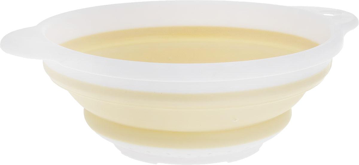 Дуршлаг Идея, складной, цвет: белый, кремовый. CLD-02CLD-02_белый, кремовыйДуршлаг складной Идея, изготовленный извысококачественного пищевого пластика и силикона, станетполезным приобретением для вашей кухни. Онидеально подходит для процеживания, ополаскивания макарон, овощей, фруктов. Нельзя мыть исушить в посудомоечной машине. Внутренний диаметр: 18 см.Размер (в разложенном виде): 23 х 20 х 9 см. Размер (в сложенном виде): 23 х 20 х 3 см.