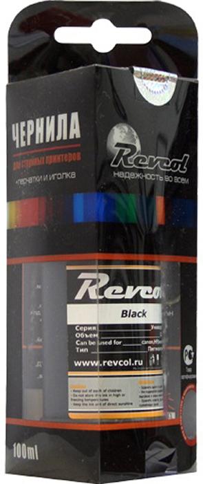 Revcol R-HCL-0,1-BP Black, Pigment чернила для принтеров HP/Canon, 100 мл чернила revcol для hp canon yellow dye 100 мл