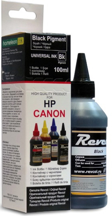 Revcol R-HCL-0,1-BP_картон Black, чернила для принтеров HP/Canon, 100 мл чернила revcol для hp canon yellow dye 100 мл