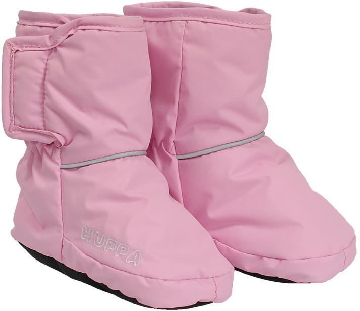 Пинетки Huppa Rich, цвет: светло-розовый. 8704BASE-80003. Размер универсальный8704BASE-80003Теплые пинетки Huppa идеально подойдут для маленьких ножек вашего малыша. Изделие изготовлено из влагоустойчивой и дышащей ткани. У пинеток мягкая подкладка из Pritex, приятна для нежной кожи ребёнка, а лёгкий утеплитель согреет крошечные ножки. Для удобства ношения пинеток в центральную часть и вшиты резинки, чтобы они хорошо держались на ножках, а в качестве украшения добавлена красивая вышивка Huppa. Так же сбоку изделие дополнено застежкой-липучкой. Оформлены пинетки светоотражающими элементами.Такие пинетки - отличное решение для малышей и их родителей! Водо и воздухонепроницаемость 5 000/ 5000.