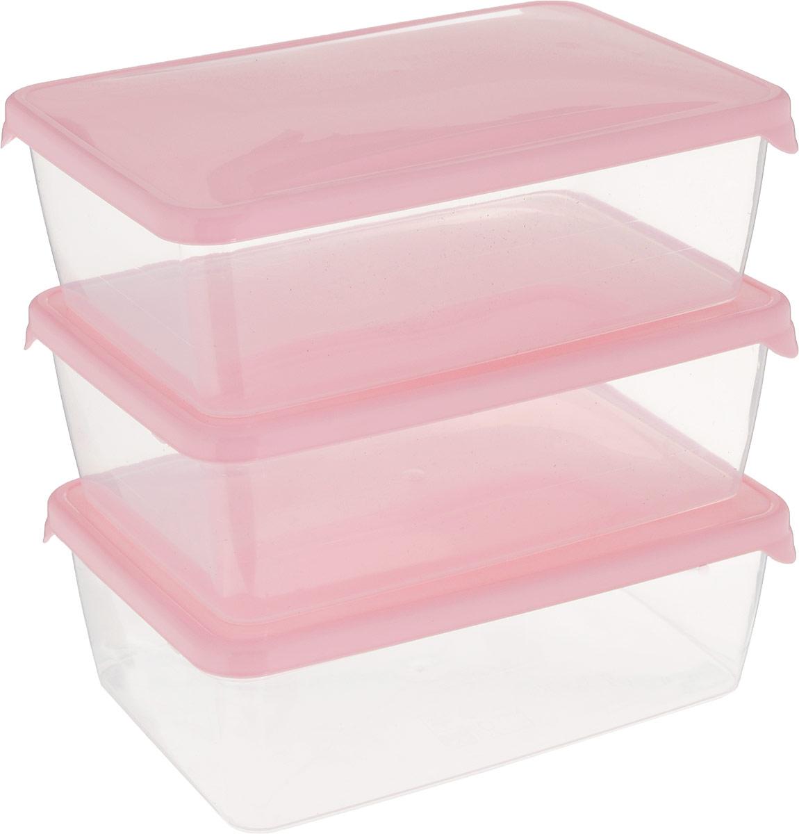Комплект емкостей для продуктов Giaretti Браво, цвет: прозрачный, розовый, 1,35 л, 3 штGR1044_розовыйКомплект емкостей для продуктов Giaretti Браво состоит из 3 контейнеров. Емкости изготовлены из пищевого полипропилена и оснащены крышками, которые плотно закрываются, дольше сохраняя продукты свежими. Боковые стенки прозрачные, что позволяет видеть содержимое.Емкости идеально подходят для хранения пищи, фруктов, ягод, овощей.Такой комплект пригодится в любом хозяйстве. Легкие емкости одинаково удобно взять с собой или хранить продукты дома, замораживать ягоды и овощи небольшими порциями. Тонкий, но вместе с тем прочный пластик обеспечивает надежность изделий.