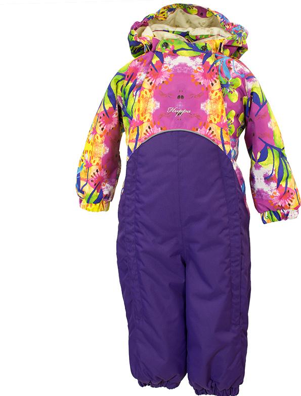 Комбинезон утепленный детский Huppa Golden, цвет: фиолетовый, розовый. 36080010-80263. Размер 9236080010-80263Комбинезон с двумя молниями Golden. Модель выполнена из водо- и воздухонепроницаемого материала. Воздухонепроницаемость 5 000. Комбинезон с длинными рукавами и капюшоном на фланелевой подкладке и с утеплителем 100 г. Швы проклеены. Капюшон с резинкой отстегивается. Манжеты рукавов с резинкой и с отворотом. Манжеты брюк с резинкой, добавлены штрипки для ступней. Без внутренних швов. Присутствуют светоотражательные детали.
