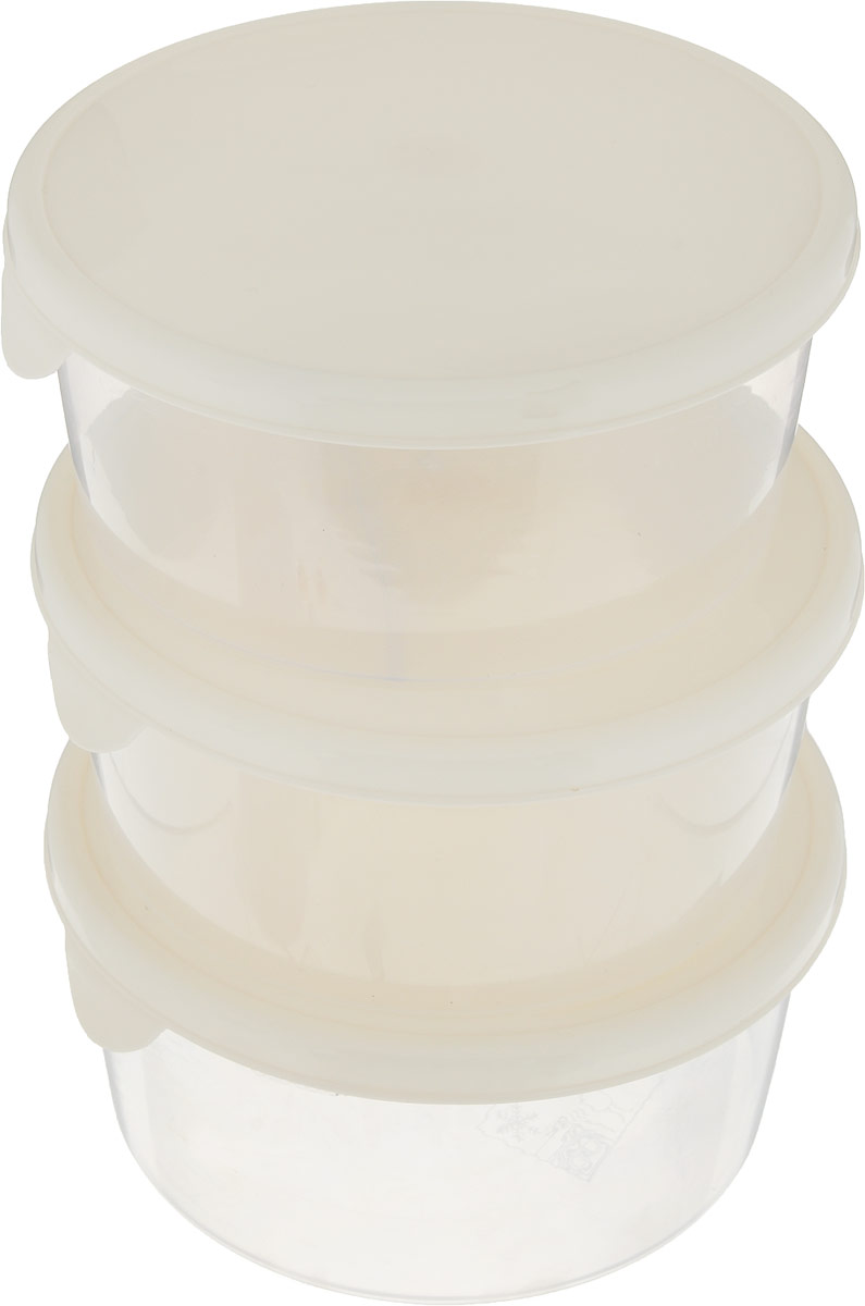 Комплект емкостей для продуктов Giaretti Браво, цвет: прозрачный, кремовый, 500 мл, 3 штGR1041_кремовыйКомплект емкостей для продуктов Giaretti Браво состоит из 3 контейнеров. Емкости изготовлены из пищевого полипропилена и оснащены крышками, которые плотно закрываются, дольше сохраняя продукты свежими. Боковые стенки прозрачные, что позволяет видеть содержимое.Емкости идеально подходят для хранения пищи, фруктов, ягод, овощей.Такой комплект пригодится в любом хозяйстве. Легкие емкости одинаково удобно взять с собой или хранить продукты дома, замораживать ягоды и овощи небольшими порциями. Тонкий, но вместе с тем прочный пластик обеспечивает надежность изделий.