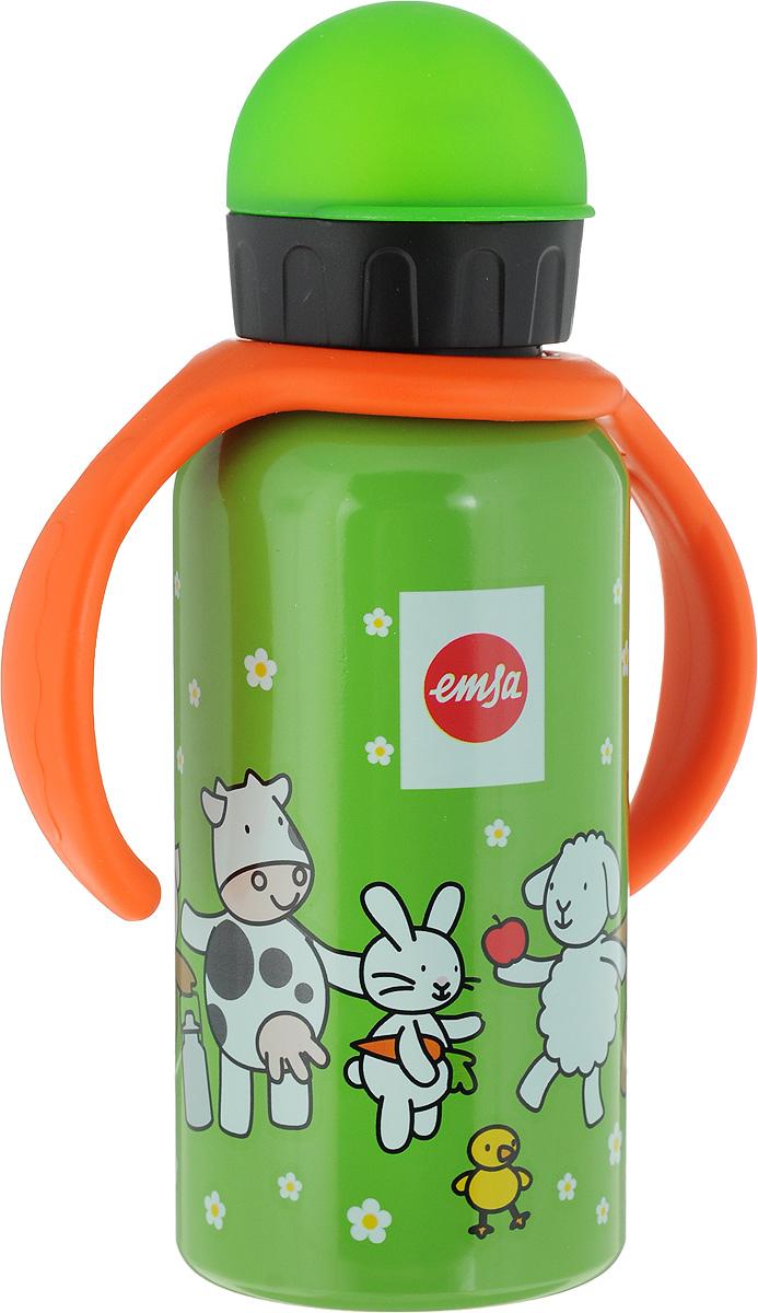 Фляжка Emsa Веселая ферма, цвет: зеленый, 400 мл514415Фляга изготовлена из алюминия и покрыта специальным составом, который препятствует окислению. В нее можно наливать не только воду, но исоки, чай и другие напитки. Из фляги очень удобно пить, а крышка закрывается абсолютно герметично. Можно мыть в посудомоечной машине.
