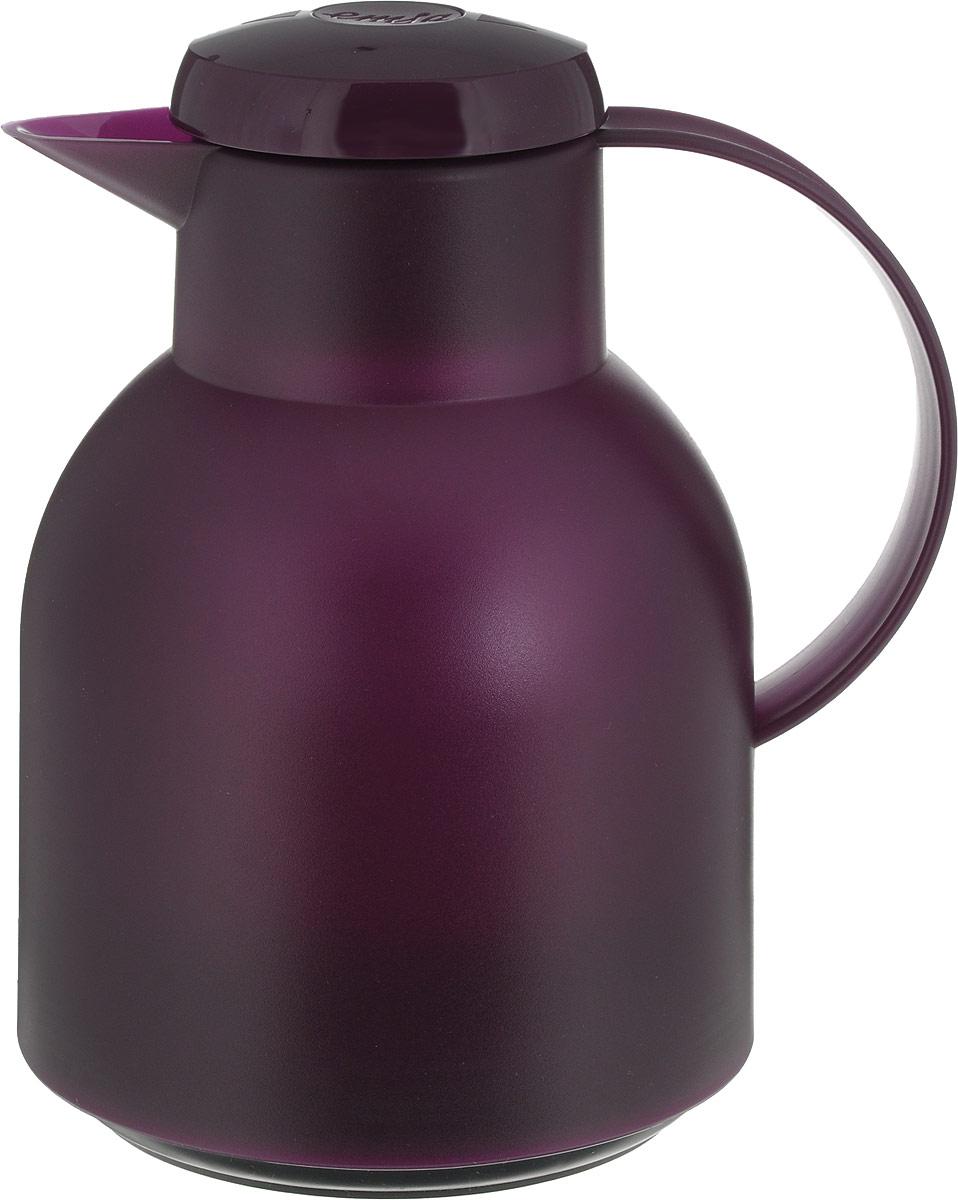 Термос-чайник Emsa Samba, цвет: фиолетовый, 1 л505490Термос-чайник сохраняет напиток горячим 12 часов, холодным - 24 часа. Легко открывается нажатием центральной кнопки на крышке. Корпус извысококачественного полупрозрачного цветного пластика тактильно приятной фактуры. 100% герметичный - возможность использования впоездке. Объем 1 л - самый популярный в сегменте. Вакуумная стеклянная колба, изготовленная вручную - обычно применяется только впремиальных моделях.