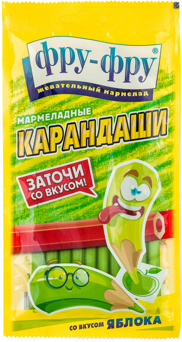 Фру-Фру жевательный мармелад карандаши яблоко, 85 г фру фру жевательный мармелад кислые ремни яблоко 85 г