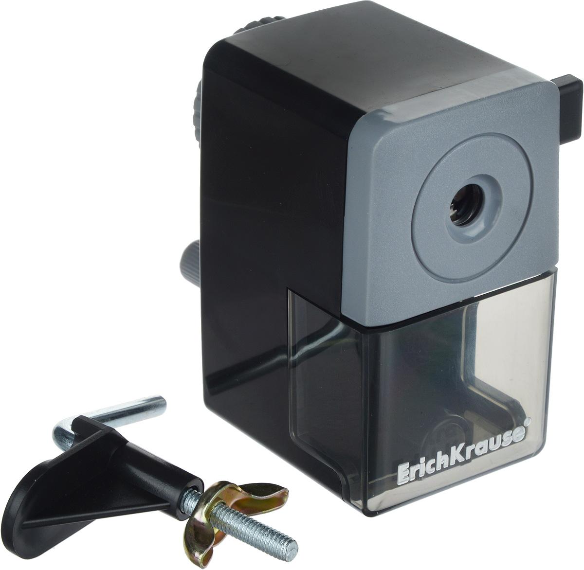 Erich Krause Точилка механическая цвет черный серыйEK6798_черный, серыйМеханическая точилка Erich Krause - незаменимый атрибут рабочего стола. Точилка из высококачественного пластика имеет съемный контейнер для стружки и оснащена рукояткой с механизмом кругового вращения. В комплекте с точилкой предусмотрено крепление к столу.Отточенный механизм и высокое качество затачивания механической точилки Erich Krause заинтересует всех любителей современных и практичных вещей.Размер точилки: 9 х 5,5 х 10 см.Бренд Erich Krause - это полный ассортимент канцтоваров для офиса и школы, который гарантирует безукоризненное исполнение разных задач в процессе работы или учебы, органично и естественно сопровождает вас день за днем.Для миллионов покупателей во всем мире продукция Erich Krause стала верным и надежным союзником в реализации любых проектов и самых амбициозных планов.Высококвалифицированные специалисты Erich Krause прилагают все свои усилия, что бы каждый продукт компании прослужил максимально долго и неизменно радовал покупателей удобством и легкостью использования, надежностью в эксплуатации и прекрасным дизайном.