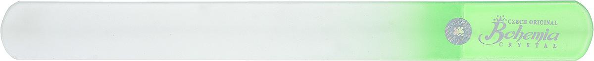 Bohemia Пилочка для ногтей, стеклянная, чехол из мягкого пластика, цвет: зеленый. 1783