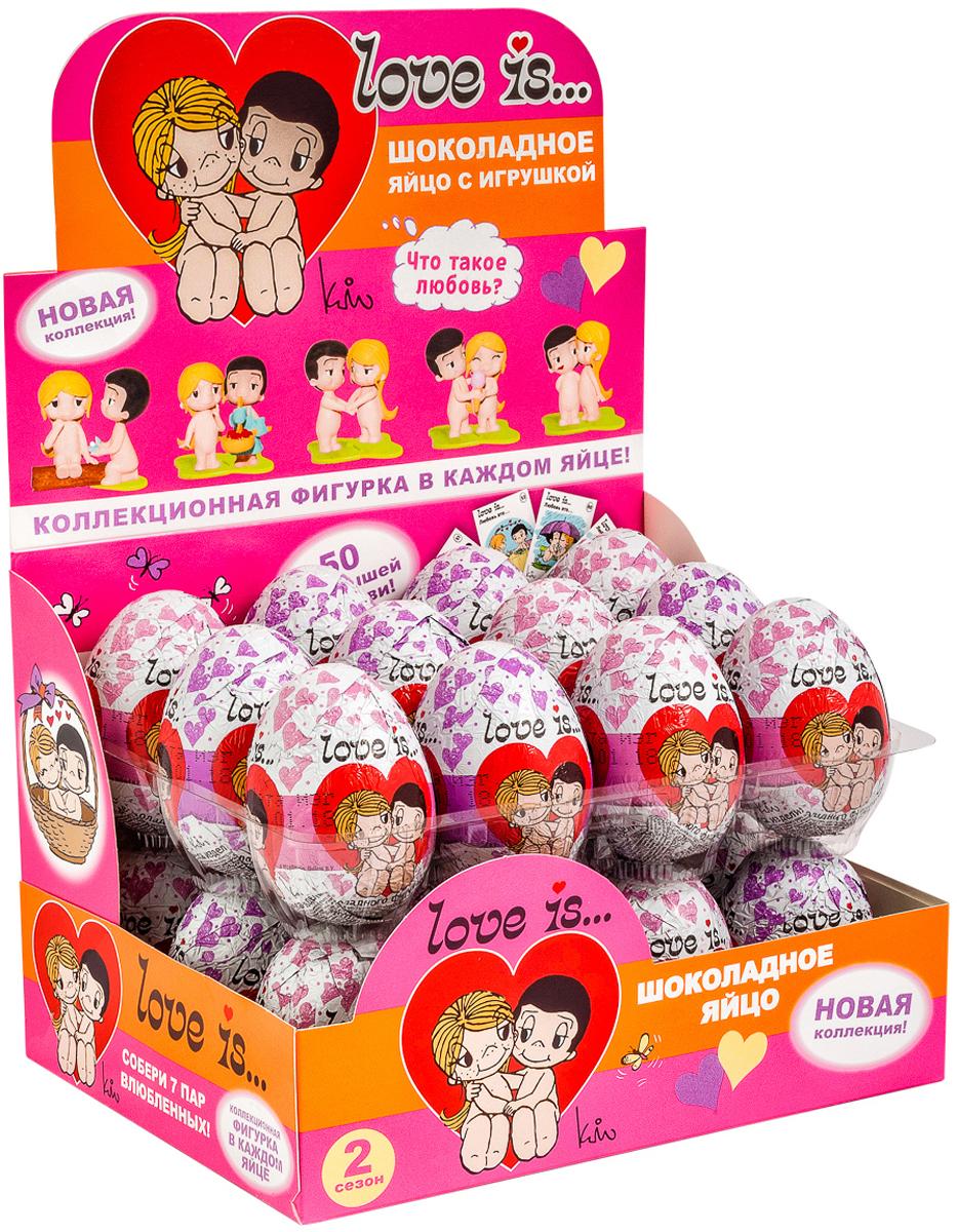 Love is шоколадное яйцо с игрушкой, 20 г по 24 штES-2-8/LSЛюбовь Ким Гроув и Роберто Казали навсегда останется одной из самых романтичных историй, воплощенных в комиксах, героями которых они стали. Каждый день художница рисовала картинки с мальчиком и девочкой, сопровождая их мини-историями со словами Любовь – это…. Она подкладывала записки в карманы мужа, чтобы он знал, как сильны ее чувства. Со временем это переросло в популярнейший бренд, который знают дети и взрослые. Шоколадное яйцо Love is… от ГК Сладкая Сказка - это настоящая находка для поклонников бренда и прекрасный подарок на День всех влюбленных и к любой другой памятной дате. Внутри каждого яйца – объемная фигурка мальчика или девочки. Вместе они составляют пару, но для того, чтобы они соединились, их нужно найти. Они соединяются друг с другом, как элементы пазла при помощи специальных подставок, благодаря которым фигурки могут самостоятельно стоять. Всего в коллекции – 7 пар. Кроме того, внутри яйца находится один из 50 коллекционных вкладышей со знаменитыми комиксами.Яйца с сюрпризом производятся на российской фабрике из натурального молочного шоколада компании Barry Callebaut - одного из лидеров мирового рынка шоколада.Приобрести продукт можно только блоком, внутри которого 24 шоколадных яйца. Такая покупка станет отличным решением для корпоративного подарка, поздравления одноклассников, однокурсников или коллег с праздниками. Во время вечеринок часто устраиваются различные конкурсы и викторины с небольшими подарками и шоколадные яйца – приятные, оригинальные и вкусные сувениры.