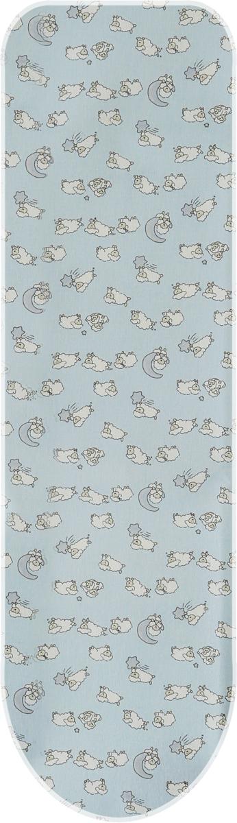 Чехол для гладильной доски Attribute Basic. Овечки, цвет: голубой, 120 х 40 см чехол для гладильной доски brabantia ящерица с войлоком 124 см х 38 см цвет голубой 265006
