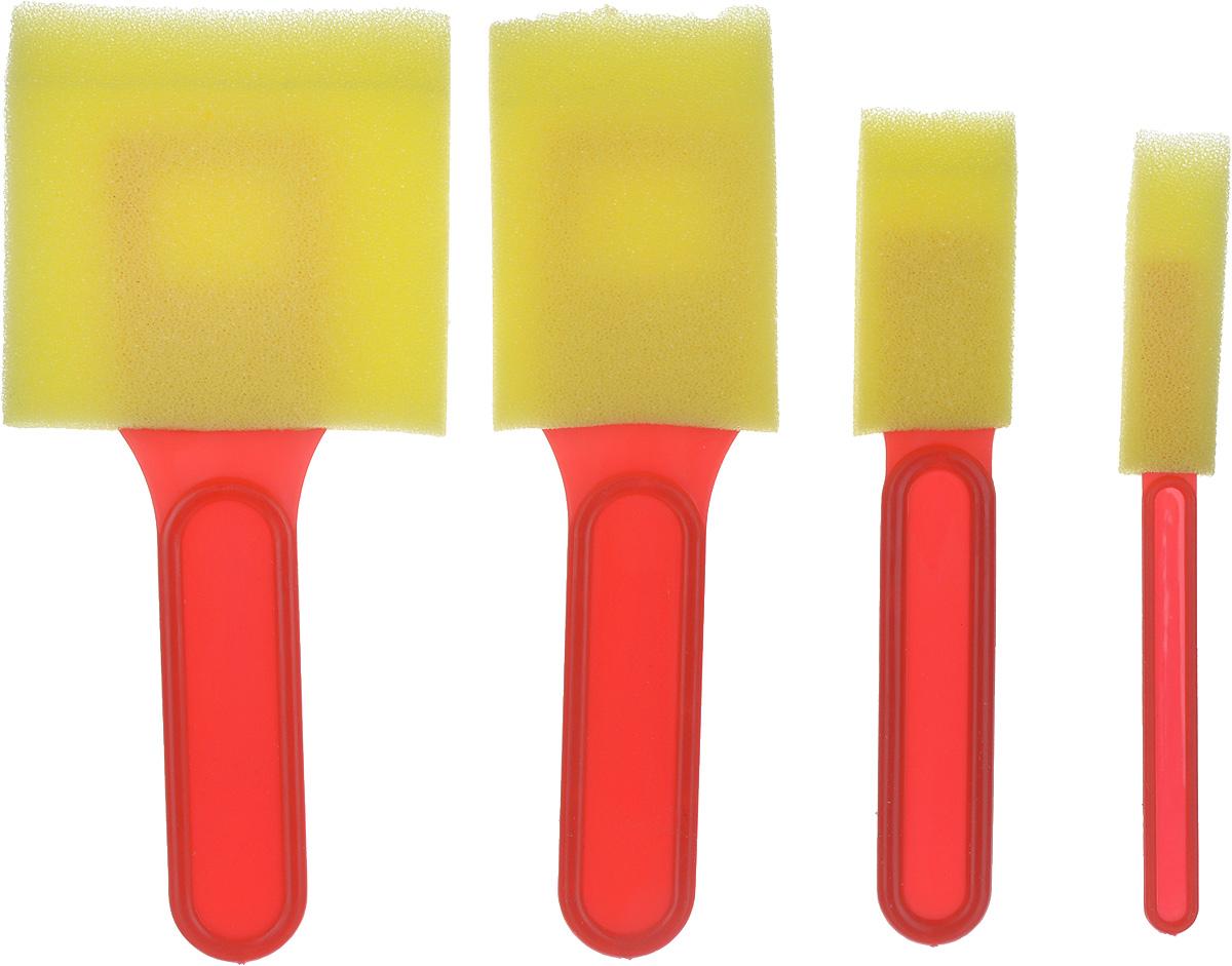 Набор кистей-спонжей, цвет: желтый, 4 шт