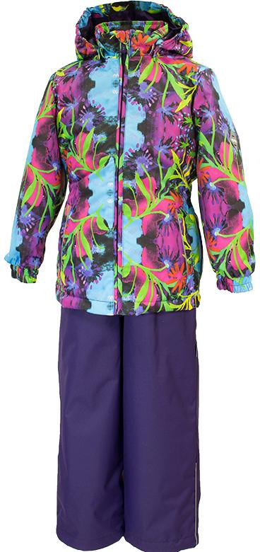 Комплект одежды для девочки Huppa Yonne 1: куртка, брюки, цвет: темно-лиловый, голубой. 41260114-81273. Размер 134 комплект одежды для девочки huppa yonne 1 куртка брюки цвет белый салатовый темно лиловый 41260104 81320 размер 140