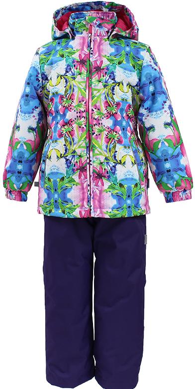 Комплект одежды для девочки Huppa Yonne: куртка, полукомбинезон, цвет: лиловый, голубой. 41260011-81253. Размер 11641260011-81253Демисезонный комплект Yonne. Состоящий из куртки и полукомбинезона, выполнен из мембранной ткани с высокими водо- и ветронепроницаемыми свойствами. Утеплитель 100 г обеспечивает комфортные прогулки при температуре воздуха от +10 до -5°С. Подкладка из шелковистой ткани (тафта) комфортна для тела. Капюшон в боковых частях утянут резинкой, при необходимости его можно отстегнуть. Манжеты на резинке защищают от задувания воздуха и попадания в рукава дождя и снега. Косые карманы на бедрах отделаны светоотражающим кантом. На спинке куртка стянута эластичным поясом. Полукомбинезон с эластичными подтяжками и застежкой на молнию. Пояс стянут резинкой. Сидельный шов проклеен. Для дополнительного комфорта в полукомбинезоне отсутствуют внутренние швы. Низ брючин регулируется шнуром с фиксатором. Светоотражающие канты и аппликации способствуют безопасности ребенка.