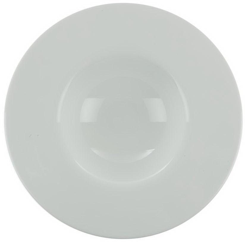 Тарелка для пасты Nuova Cer, 27 смРП-0909ROYAL новый уникальный продукт на рынке фарфора производится из материала, в состав которого входит алюминиум (глинозем) в виде порошка, что придаёт фарфору уникальные свойства: белоснежный цвет, как на поверхности, так и на изломе, более тонкие и изящные формы, так как добавление металла делает фарфоровую массу более пластичной, устойчивость к сколам и царапинам. Возможный перепад температур при эксплуатации до 200 градусов! Фарфор покрывается глазурью, что характеризует эту посуду как продукт высшего класса. Идеально подходит для использования в микроволновой печи и посудомоечной машине