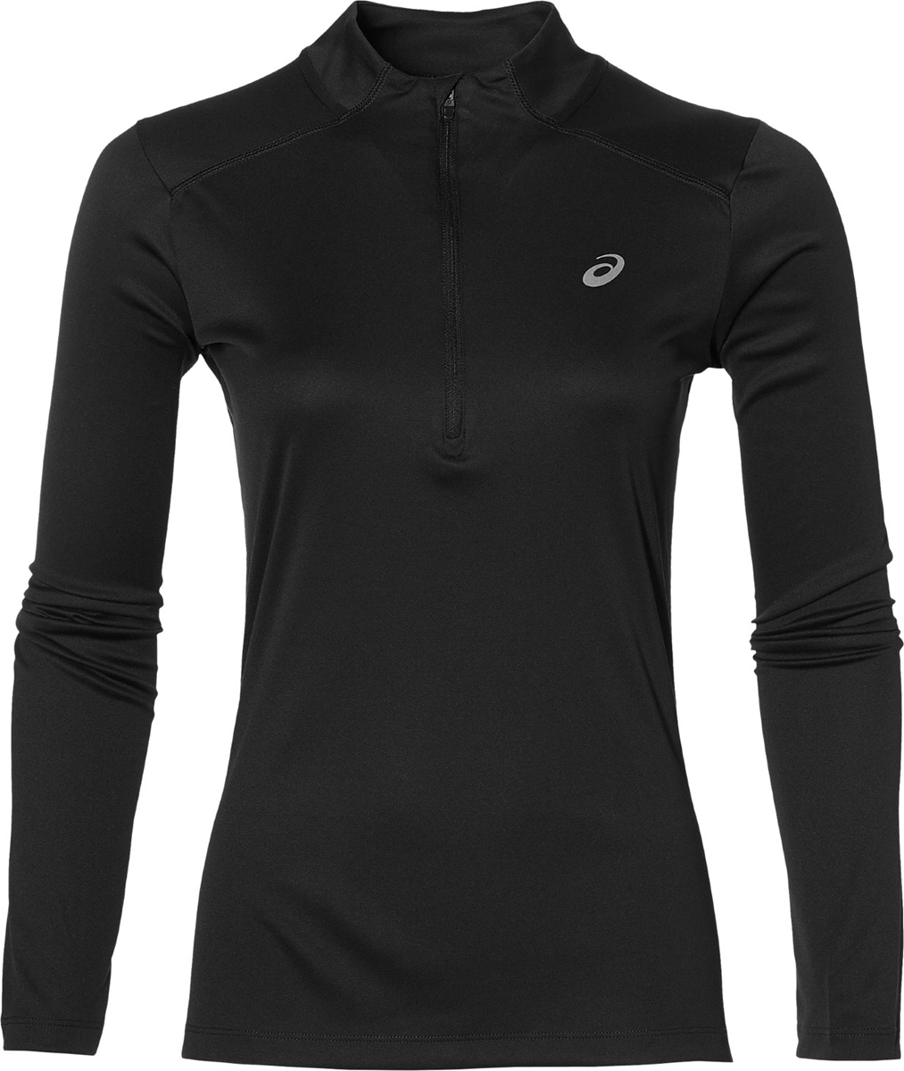 Лонгслив женский Asics LS 1/2 Zip Top, цвет: черный. 134108-0904. Размер S (44) лонгслив для бега женский asics ess winter 1 2 zip цвет черный 134109 0904 размер xs 40 42