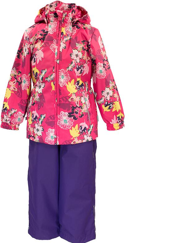 Комплект одежды для девочки Huppa Yonne: куртка, полукомбинезон, цвет: фуксия, фиолетовый. 41260014-81163. Размер 9241260014-81163Комплект верхней одежды для девочки Huppa Yonne выполнен из износостойкого полиэстера и состоит из куртки и полукомбинезона. В качестве подкладки и утеплителя используется полиэстер. Ткань имеет водонепроницаемость 10000 мм, воздухопроницаемость 10000 г/м2. Полукомбинезон с высокой грудкой застегивается на молнию. Изделие дополнено мягкими резиновыми лямками, регулируемыми по длине. На талии сзади и по бокам предусмотрена вшитая эластичная резинка. Снизу брючин предусмотрены шнурки-утяжки со стопперами. Куртка со съемным капюшоном и воротником-стойкой застегивается на застежку-молнию. Капюшон пристегивается при помощи кнопок. Манжеты рукавов и спинка на талии собраны на внутренние резинки. Спереди модель дополнена двумя врезными карманами.Комплект оснащен светоотражающими элементами.