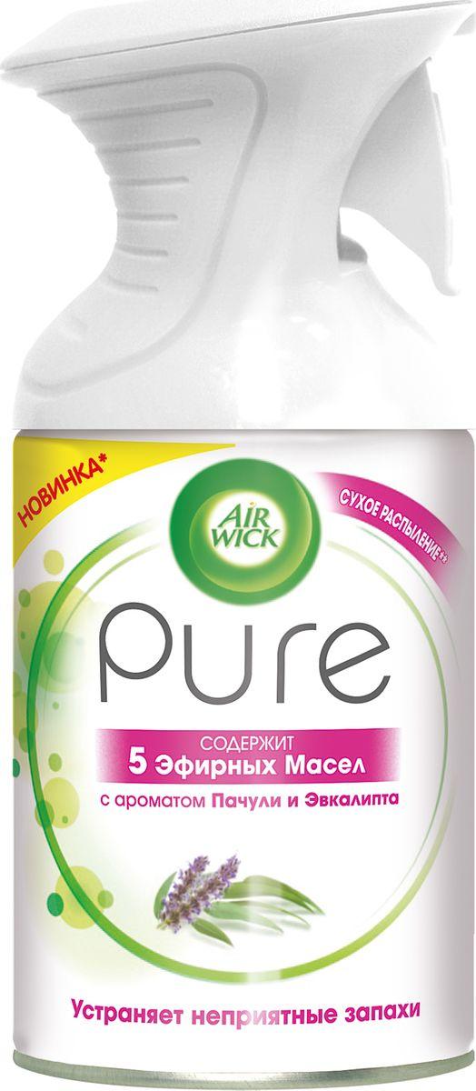 Освежитель воздуха Air Wick Pure с 5 эфирными маслами помогает создать приятную атмосферу в помещении.  Содержит масла пачули, эвкалипта, апельсина, гвоздики, лаванды.  Не содержит воды и эффективно устраняет неприятные запахи без мокрого распыления.