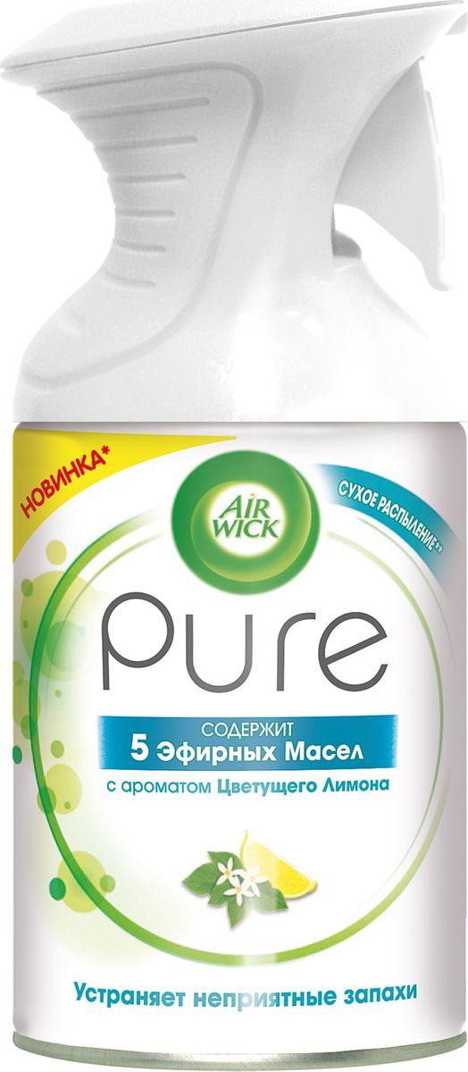 Освежитель воздуха Air Wick Pure. 5 эфирных масел, цветущий лимон, 250 мл22734Освежитель воздуха Air Wick Pure с 5 эфирными маслами помогает создать приятную атмосферу в помещении.Содержит масла лимона, апельсина, сосны, пальмарозы и миндаля.Не содержит воды и эффективно устраняет неприятные запахи без мокрого распыления.
