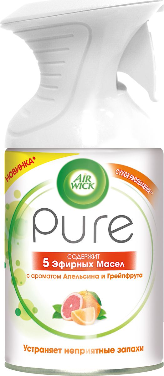 Освежитель воздуха Air Wick Pure с 5 эфирными маслами помогает создать приятную атмосферу в помещении.  Содержит масла апельсина, грейпфрута, лимона, иланг-иланга и кедра.  Не содержит воды и эффективно устраняет неприятные запахи без мокрого распыления.