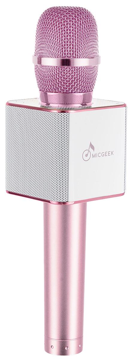 MicGeek Q9, Pink микрофонBP-00001196Представляем вашему вниманию новый, стремительно набирающий популярность гаджет - беспроводные караоке-микрофоны от ведущего мирового производителя аппаратуры для караоке MicGeek. Беспроводной караоке микрофон MicGeek 3 в 1 - это микрофон, встроенные динамики и плеер. С ним Вы сможете петь песни в любое время и в любом месте с реальным эффектом караоке. Мощные встроенные динамики микрофона MicGeek воспроизводят стерео звук, и подарят Вам музыкальный праздник. Обработка голоса при исполнении позволит звучать ему профессионально. На корпусе устройства имеется переключатель режима эхо-реверберации, кнопки включения/выключения микрофона, регулировки громкости/перехода к предыдущему-следующему треку и включения самого устройства. Подключается к мобильному телефону, ПК, автомобилю, музыкальному плееру, колонкам и другим устройствам через Bluetooth или через проводное соединение AUX (определенные модели). Вы можете пользоваться абсолютно любыми приложениями для караоке, работающими на базе Android или IOS. Мощный встроенный аккумулятор. Записывайте ваше пение в любое время, не пропустите ни одного намека на вдохновение, и можете поделиться своими песнями с друзьями и семьей.Караоке-микрофон MicGeek – это отличный подарок на любой праздник, потому что петь под караоке – это уже праздник! Пение с караоке дарит тонус нашему организму, поднимает настроение, обогащает гормонами радости и приносит одно удовольствие! Петь можно в любое время и в любом месте.MicGeek Q9 – наиболее популярная модель, благодаря которой микрофоны MicGeek стали известны по всему миру. Это многофункциональный микрофон, который значительно превосходит по своих характеристиками другие караоке-микрофоны предшественники. Поставляется в удобном прочном кейсе.Технические характеристики: Интеллектуальное снижение шума. Может быть использован как громкоговоритель. Прочный металлический корпус. 2 способа подключения: Bluetooth или USB. 2 HD динамика. Мощность динамика: 2 x 5 В