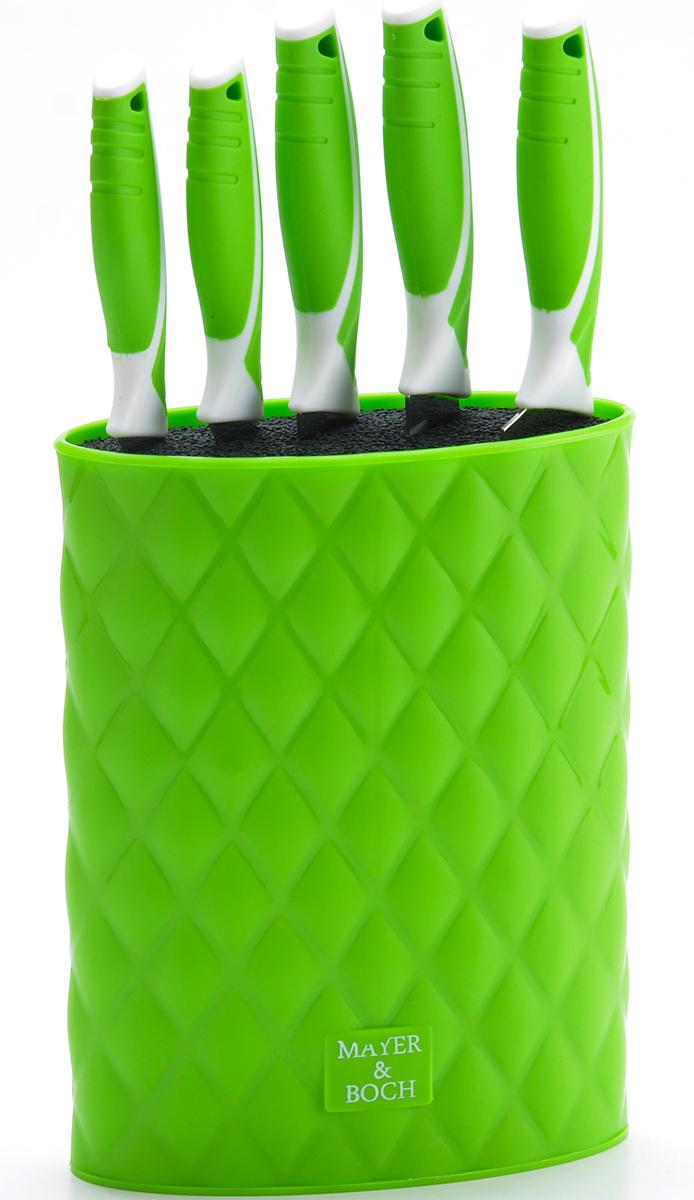 Набор ножей Mayer&Boch, на подставке, цвет: зеленый, 6 предметов26988-3Набор Mayer&Boch состоит из 5 ножей разного размера, компактно складывающихся воригинальную цветную подставку-тубус. Лезвия выполнены извысококачественной нержавеющей стали с покрытием Non-Stick, имеют износостойкую режущуюкромку, благодаря чему ножи дольше остаются острыми, а эргономичные рукоятки ножей,выполненные из полипропилена и термопластика, обеспечивают безопасную работу икомфортное положение в руке. Это прекрасные ножи для ежедневной резки фруктов, овощей имяса. Изделия имеют гладкую, легко очищаемую поверхность. Оригинальный дизайн набора икачество исполнения не оставят вас равнодушными. Набор Mayer&Boch станетвеликолепнымподарком и отлично украсит интерьер вашей кухни!