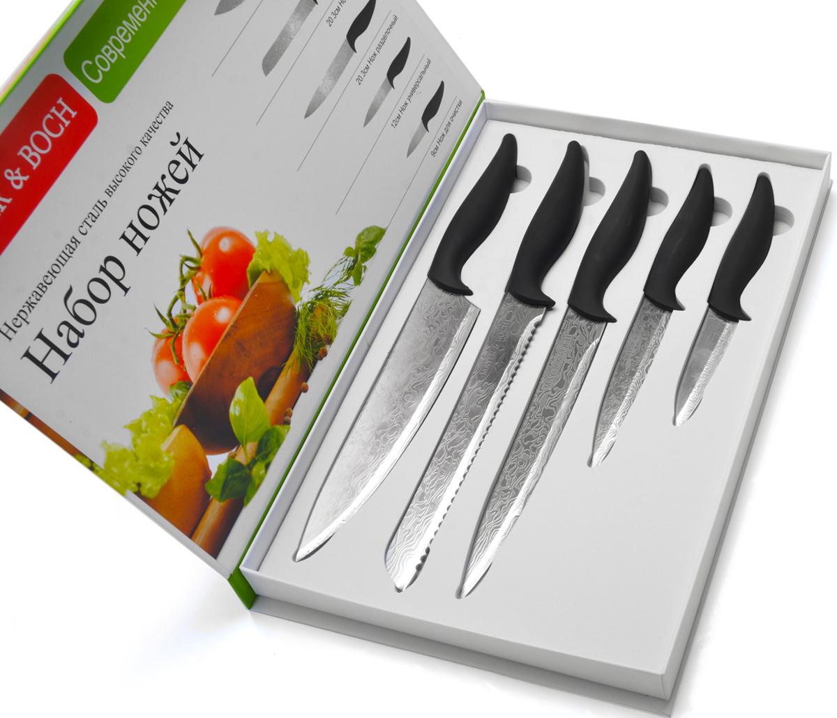Набор ножей Mayer&Boch, 5 шт. 2699026990Набор ножей Mayer&Boch с лезвиями из высококачественной нержавеющей стали станет незаменимым помощником на вашей кухне. Лезвия покрыты специальным антибактериальным Non-Stick покрытием, предотвращающим прилипание продуктов к лезвию ножа и обеспечивающим свежесть и гигиеничность продуктов при их нарезке. Поверхность клинков легко моется, не впитывает и не «передает» запахи пищи при параллельной нарезке различных продуктов. Набор ножей идеально подойдет для резки как мяса и рыбы, так и фруктов и овощей. Эргономичная рукоятка каждого изделия удобно ложится в ладонь, обеспечивая безопасную работу, комфортное положение в руке, надежный захват и не дает ножам скользить при использовании. Яркий дизайн изделий украсит вашу кухню, а благодаря красивой упаковке, такой набор станет еще и прекрасным подарком! В набор входит 5 ножей. Нож поварской: лезвие 20,3 см. Нож хлебный: лезвие 20,3 см. Нож разделочный: лезвие 20,3 см. Нож универсальный: лезвие 12 см. Нож для очистки: лезвие 9 см.