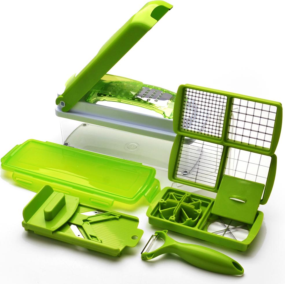 Овощерезка Mayer&Boch, ручная, 12 предметов27541Овощерезка Nicer-Dicer - это многофункциональный прибор, который поможет Вам быстро нарезать фрукты и овощи. В комплекте: лезвие для нарезки кольцами, насадка для нарезания кольцами, защитный кожух для насадок, профессиональная овощечистка, защитное приспособление для удержания продукта, устройство для проталкивания продукта, вкладыш для нарезки, крышка с механизмом измельчения, прозрачный контейнер для хранения и сбора (объемом 1,5 л), контейнеры для сбора, вкладыш для нарезки - 2 шт. Такой набор поможет без труда очистить и нарезать продукты кубиками, ломтиками или соломкой. Предметы набора можно мыть в посудомоечной машине.