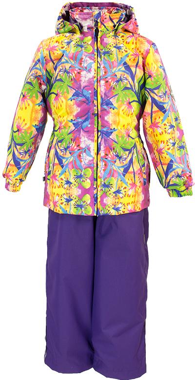 Комплект одежды для девочки Huppa Yonne: куртка, полукомбинезон, цвет: фиолетовый, желтый. 41260014-81263. Размер 10441260014-81263Комплект верхней одежды для девочки Huppa Yonne выполнен из износостойкого полиэстера и состоит из куртки и полукомбинезона. В качестве подкладки и утеплителя используется полиэстер. Ткань имеет водонепроницаемость 10000 мм, воздухопроницаемость 10000 г/м2. Полукомбинезон с высокой грудкой застегивается на молнию. Изделие дополнено мягкими резиновыми лямками, регулируемыми по длине. На талии сзади и по бокам предусмотрена вшитая эластичная резинка. Снизу брючин предусмотрены шнурки-утяжки со стопперами. Куртка со съемным капюшоном и воротником-стойкой застегивается на застежку-молнию. Капюшон пристегивается при помощи кнопок. Манжеты рукавов и спинка на талии собраны на внутренние резинки. Спереди модель дополнена двумя врезными карманами.Комплект оснащен светоотражающими элементами.