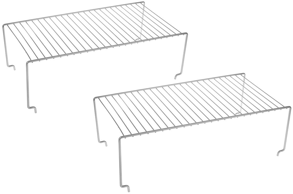 """Набор """"Metaltex"""" состоит из 2 кухонных полок, которые могут быть использованы как по отдельности, так и вместе, установленными друг на друга. Полки выполнены из нержавеющей стали с покрытием.  Это оптимальное решение, особенно, для небольшой кухни.   Размеры полок: 47 х 23,5 см.  Высота полок: 12,5 см, 15,5 см."""
