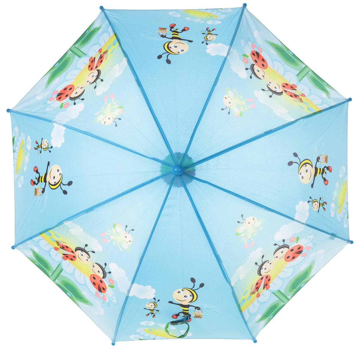 Зонт-трость детский ArtRain, автомат, цвет: голубой, желтый, зеленый. 1651-02