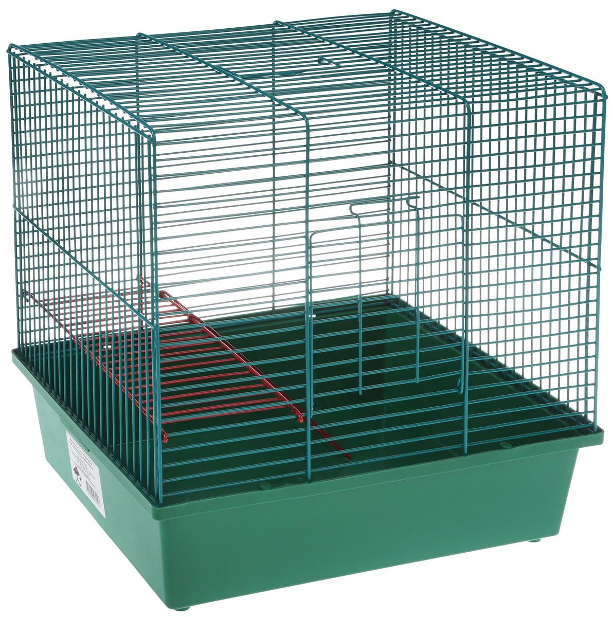 Клетка для грызунов Велес Lusy Hamster-2, 2-этажная, цвет: зеленый, бирюзовый, 35 х 26 х 26 см клетка для грызунов inter zoo teddy gigant 2 комплект для крыс 59х36х56см o c