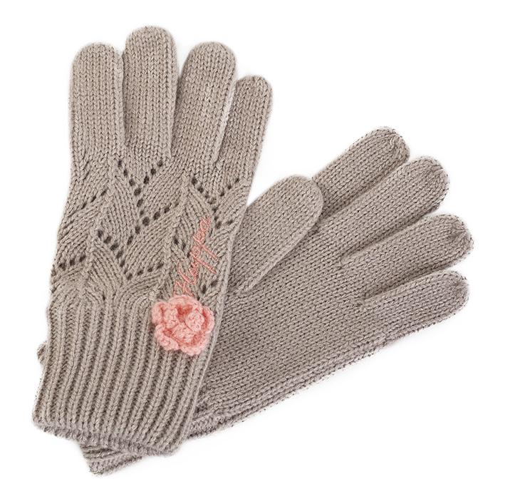 Перчатки для девочки Huppa Leila, цвет: бежевый. 8208AS13-071. Размер 38208AS13-071Вязанные перчатки Leila выполнены из акриловой пряжи. Декорированы вязаным цветочком.